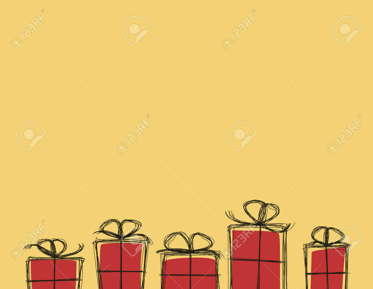 Abstract hand drawn gift boxes card. Vector image. Stock Vector - 17628442