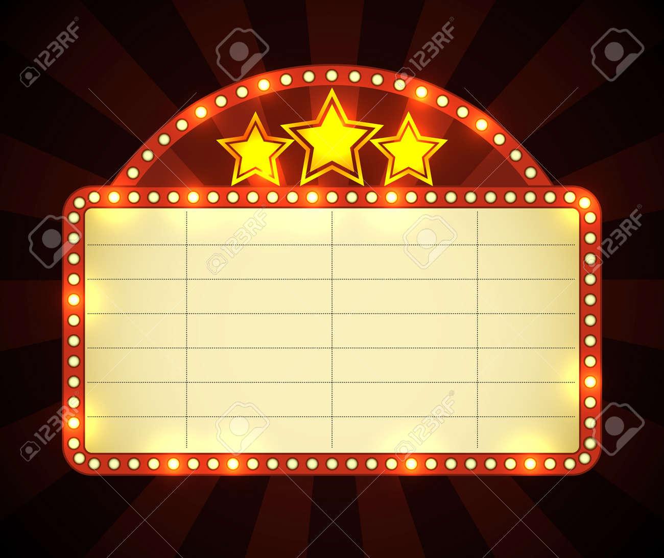 Brightly glowing retro cinema neon sign Stock Vector - 17628713