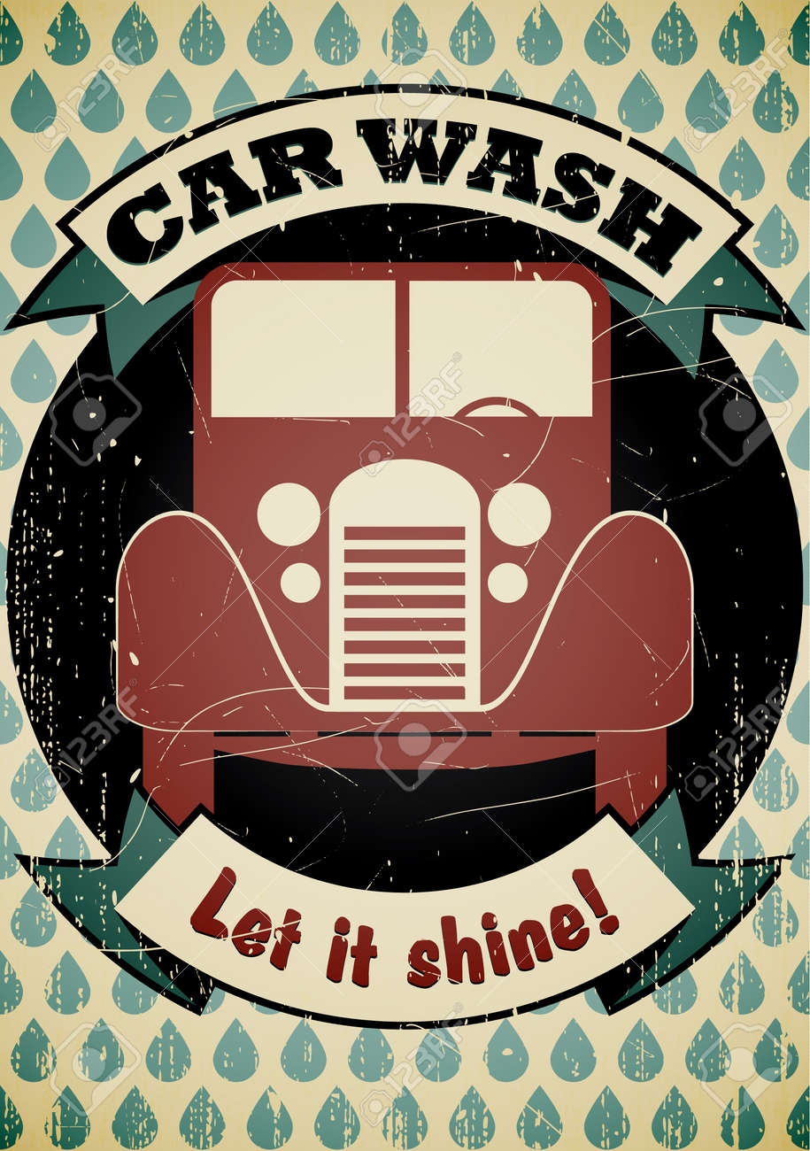 Retro car wash poster Stock Vector - 17628720