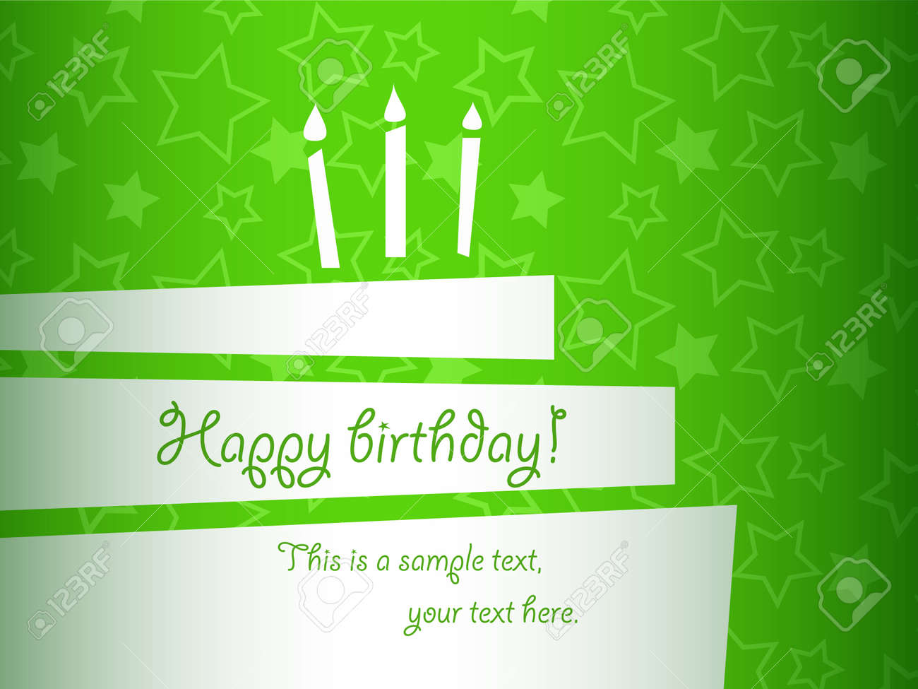 Vector Stylized Green Birthday Cake Card EPS10 Royalty Free – Green Birthday Card