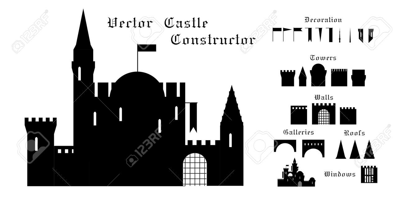 set of vector elements of a medieval castle. Stock Vector - 22562202
