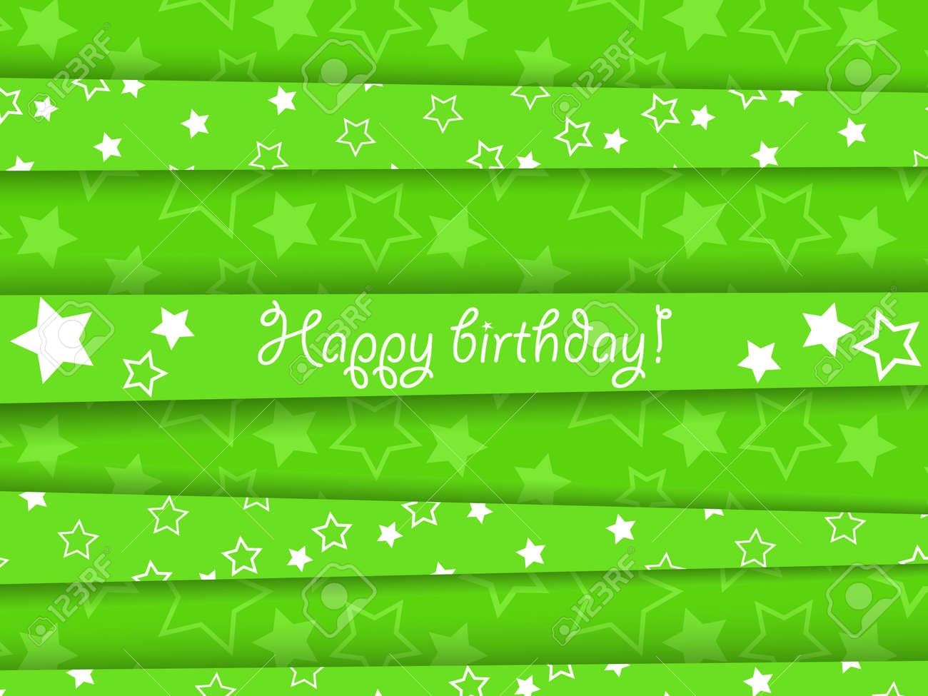 Vector green birthday card with stars, EPS10 Stock Vector - 22562213
