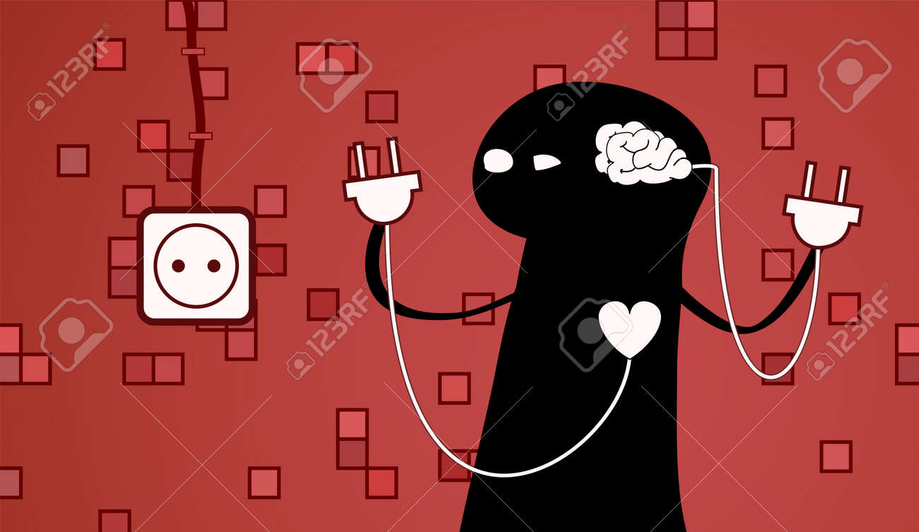 concept of a hard choice between a heart and a brain. Stock Vector - 23228474