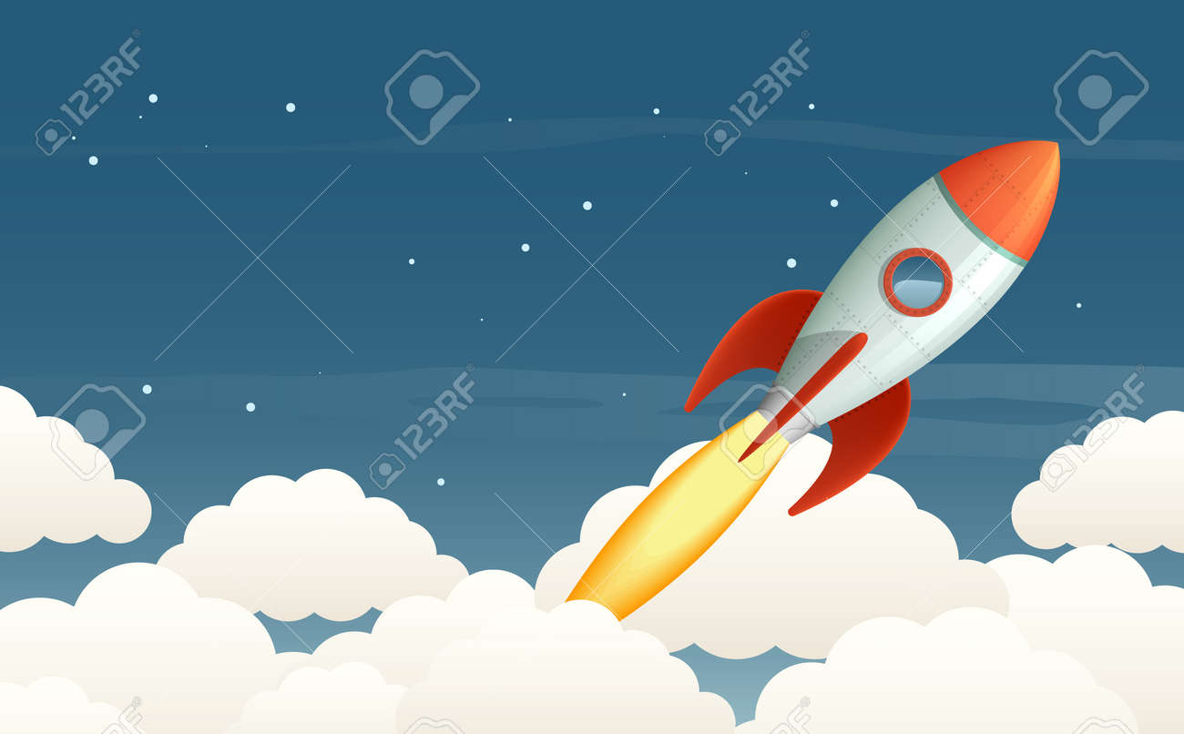 Illustration of a flying rocket in the starry sky. Stock Vector - 23552827