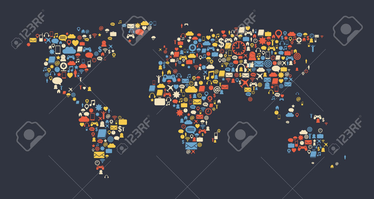 World map made of media icons globalization and internet concept vector world map made of media icons globalization and internet concept vector image gumiabroncs Image collections