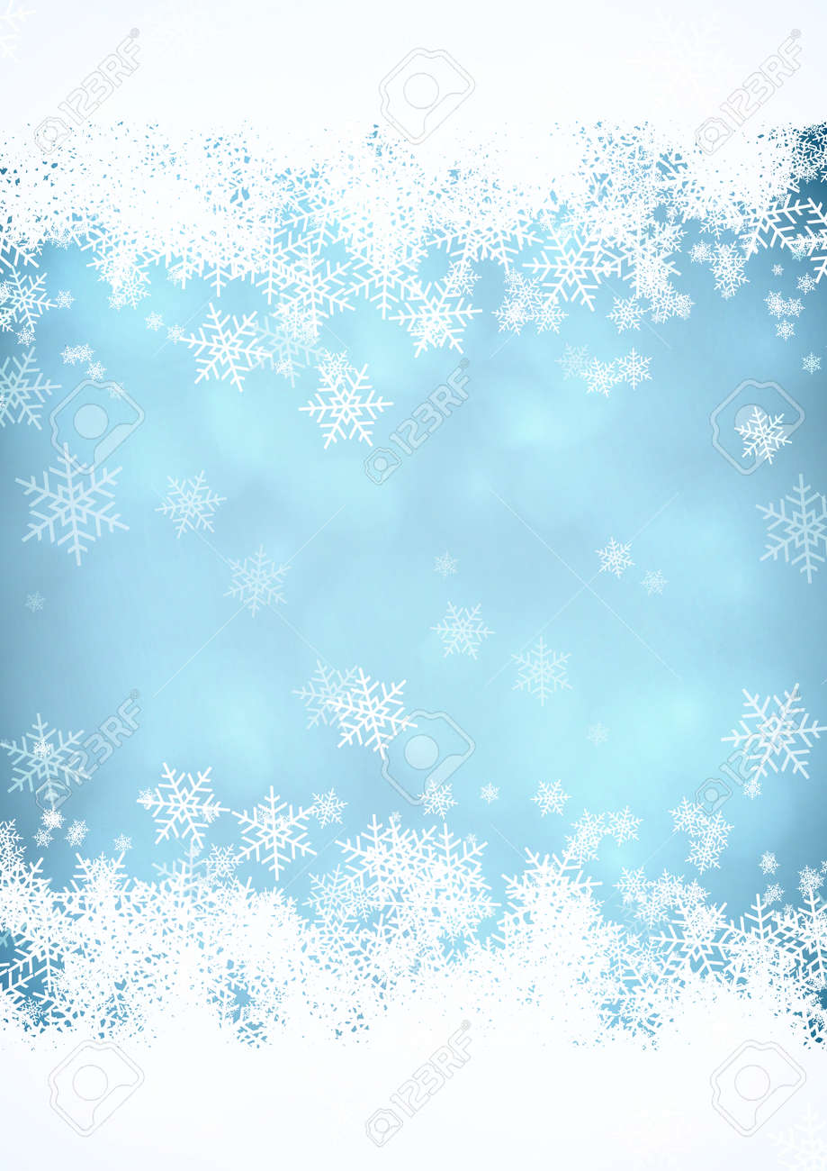blue christmas snow background with snow stripes in the top and