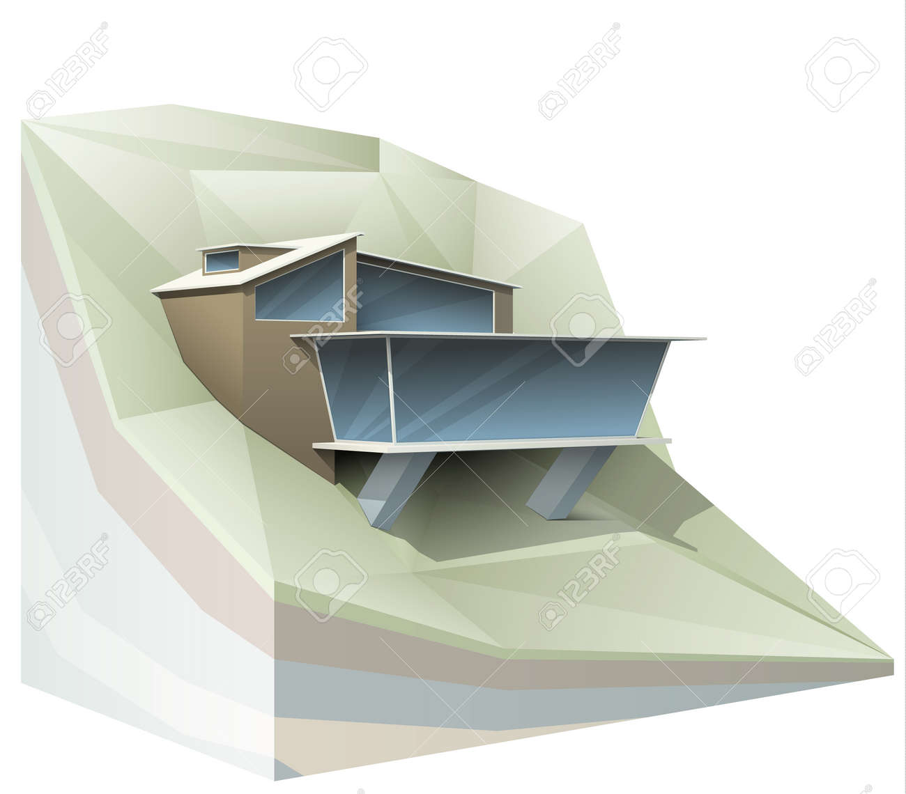 ool Modern House On Mountain Slope Design. PS10 Vector Image ... - ^