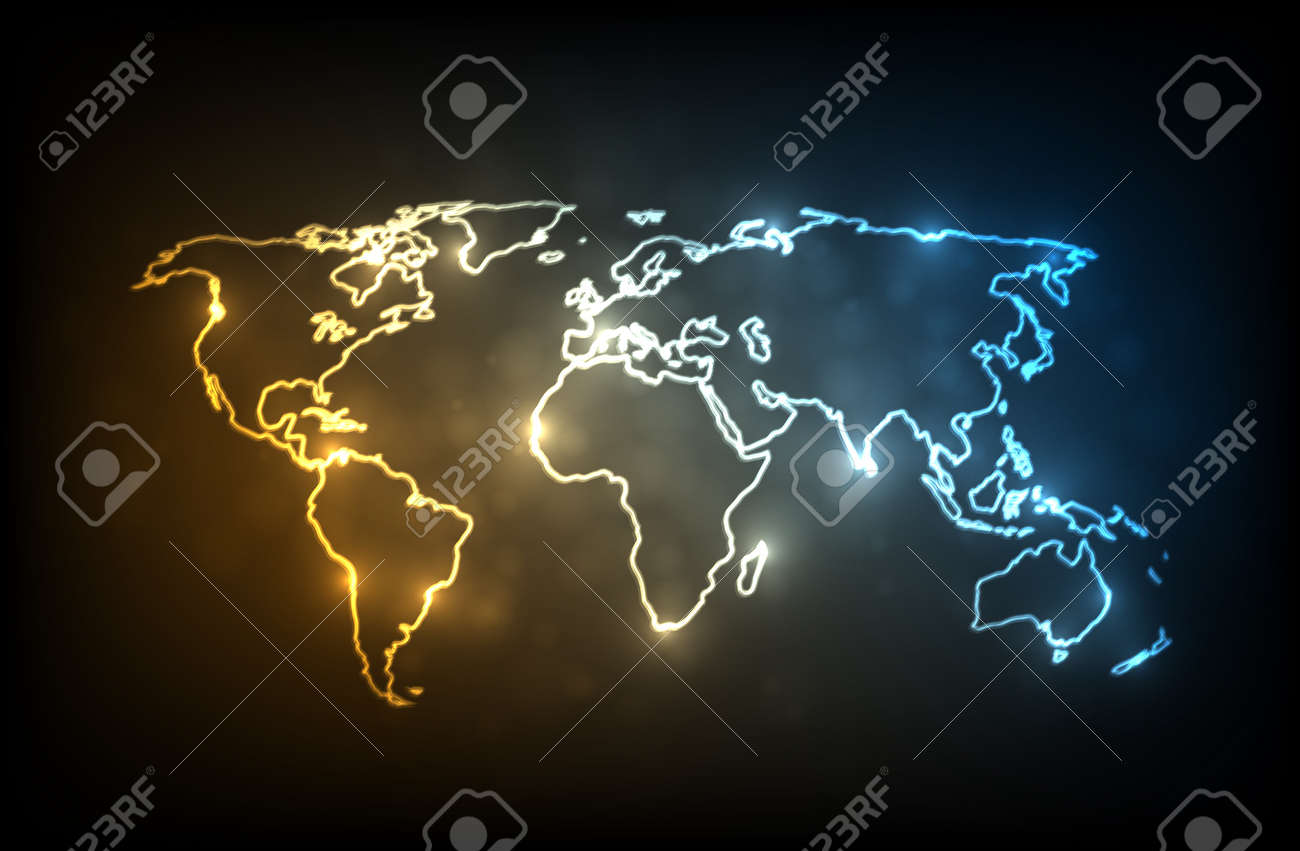 Glowing world map glowing outlines of continents on dark glowing world map glowing outlines of continents on dark background eps10 vector image gumiabroncs Images