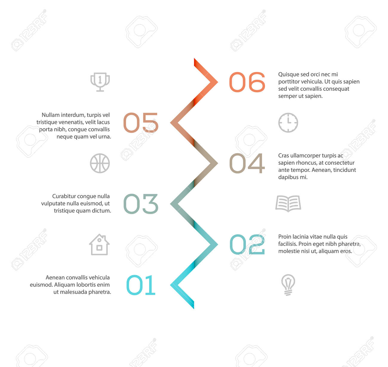cool infographic template with zigzag line forming arrows pointing