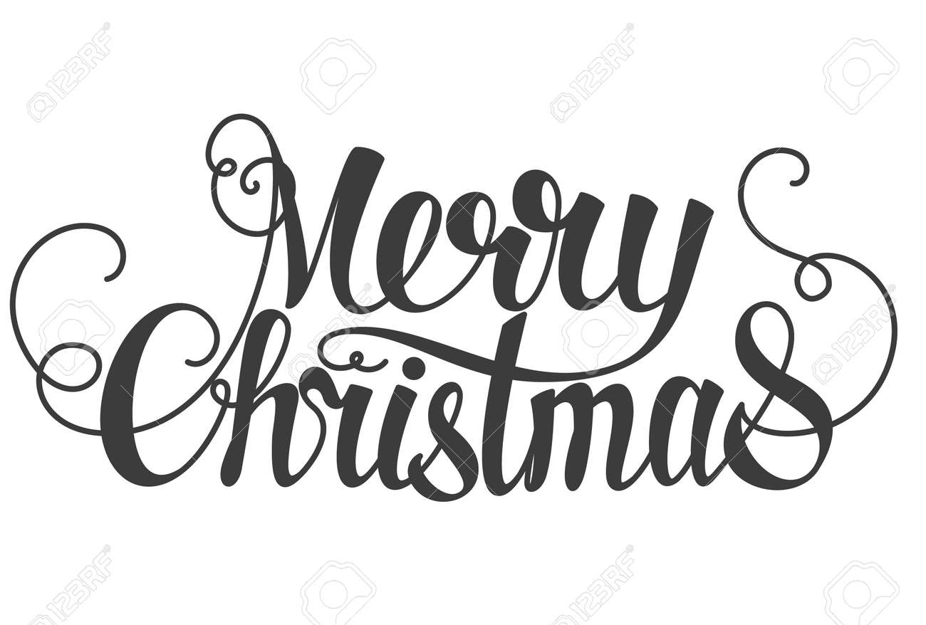 Merry Christmas Hand Lettering Isolated On White. Royalty Free ...