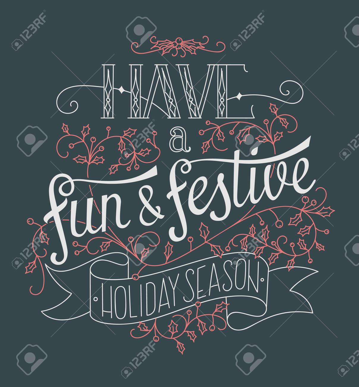 Vettoriale Manifesto Di Lettering Mano Natale Creativo Buon Divertimento E Festivita Image 49608764