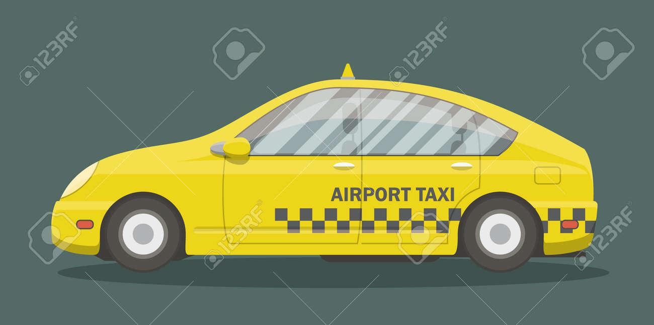 Cartoon Taxi, Vue De Côté. Vector Illustration Du0027une Voiture Urbaine Jaune.