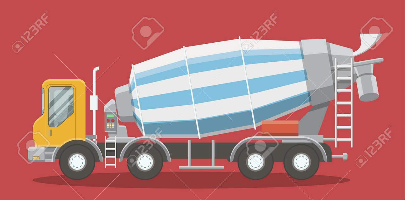De Dibujos Animados Hormigonera Vista Lateral Del Camión. EPS10 ...