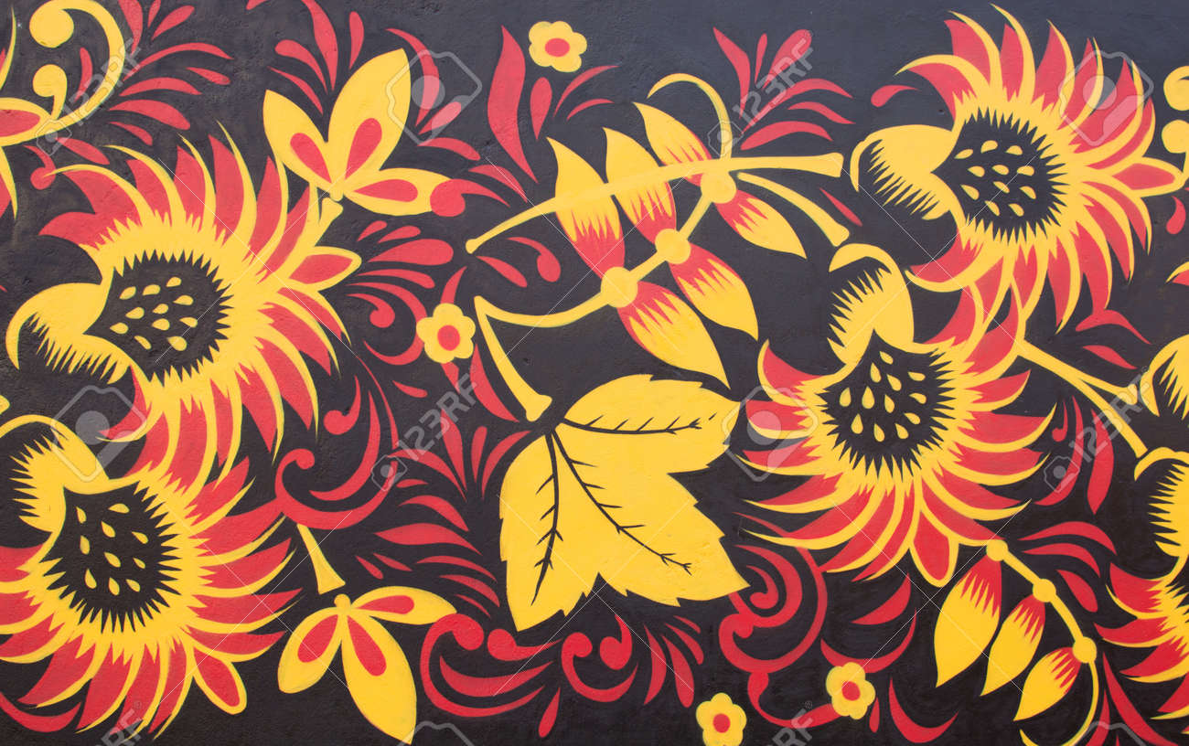 Graffiti Art On Street Wall. Flowers And Leafs - Yellow And Red ...