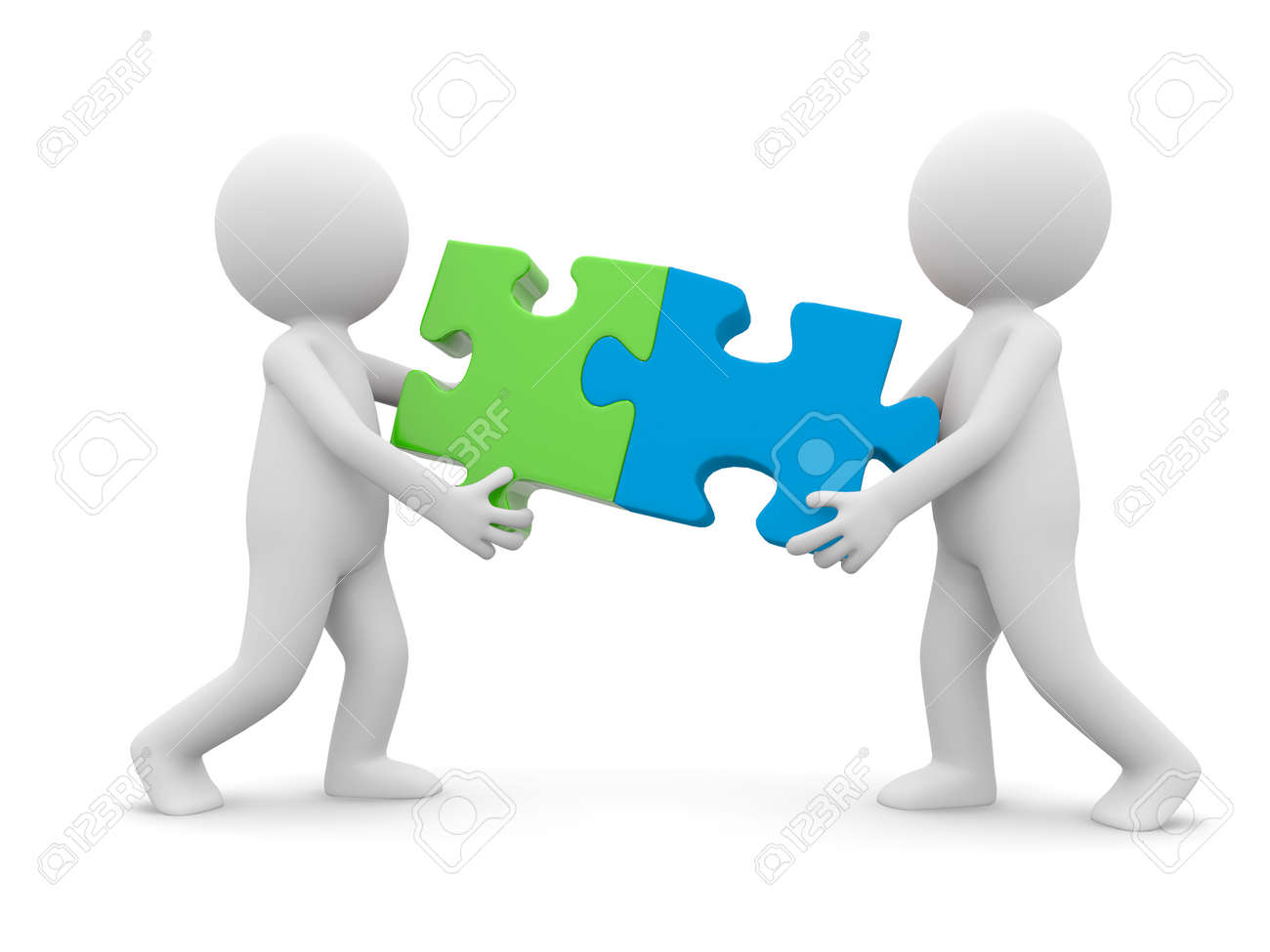Two cartoon characters carrying two puzzle Stock Photo - 13223731