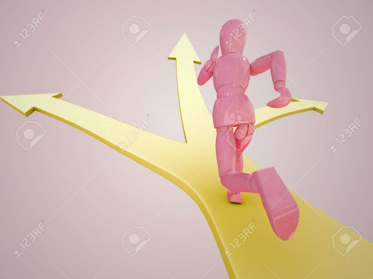 A puppet is running on a  red  arrow Stock Photo - 13223825