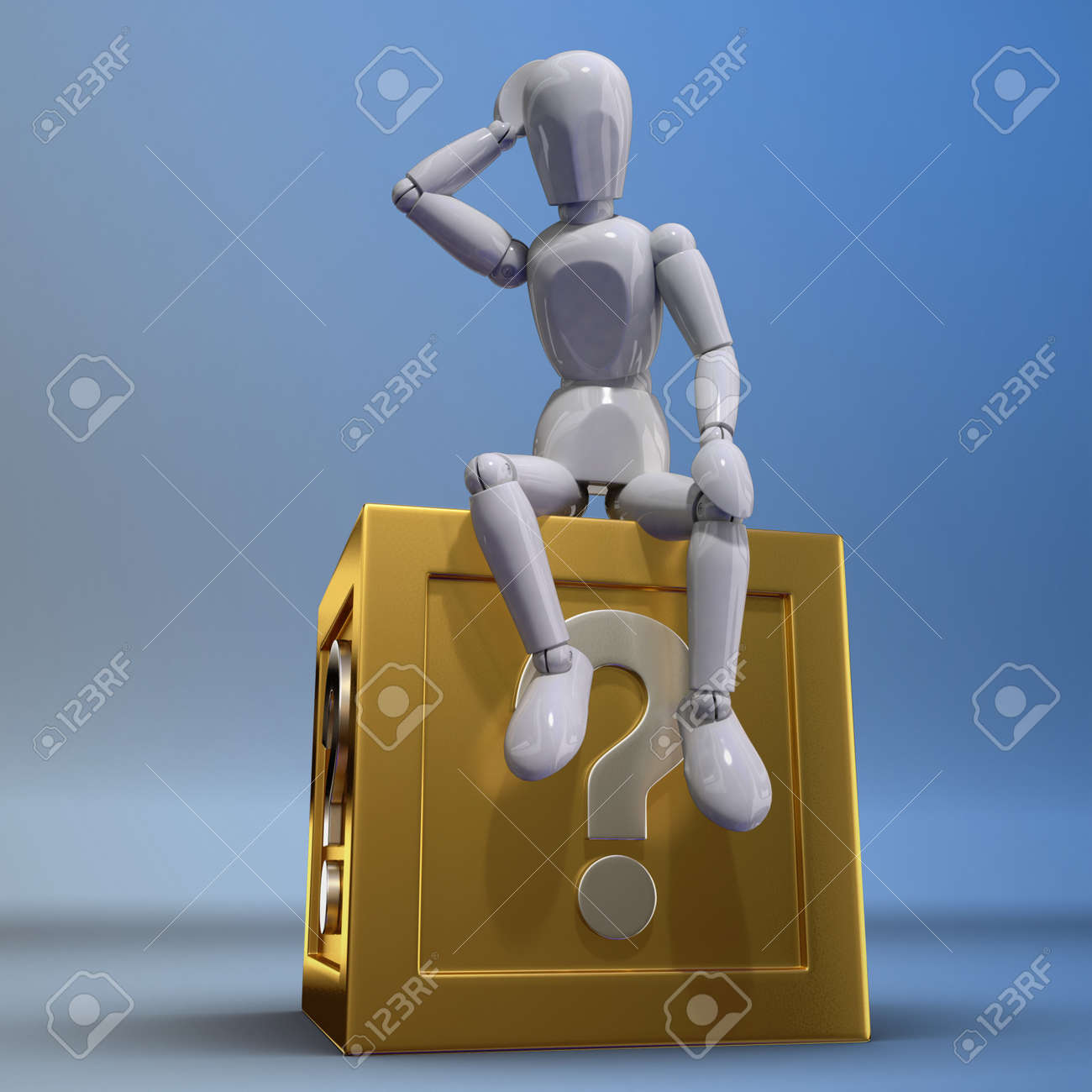 A puppet is thinking on a  question box Stock Photo - 13223837