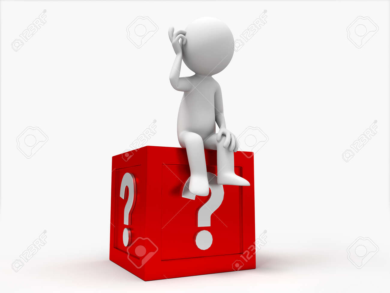 3d people sitting on the box with question mark Stock Photo - 15409859