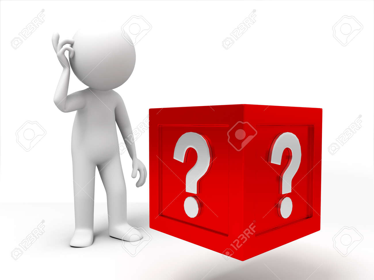 3d people standing in front of the question box Stock Photo - 15409869