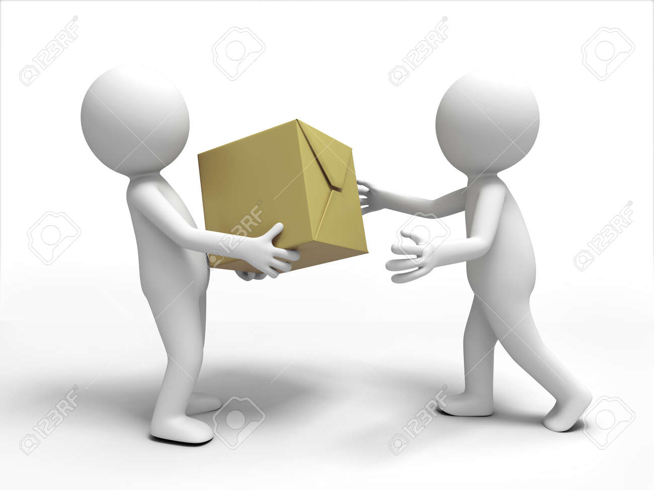 A 3d people brought the package to the other Stock Photo - 15409684