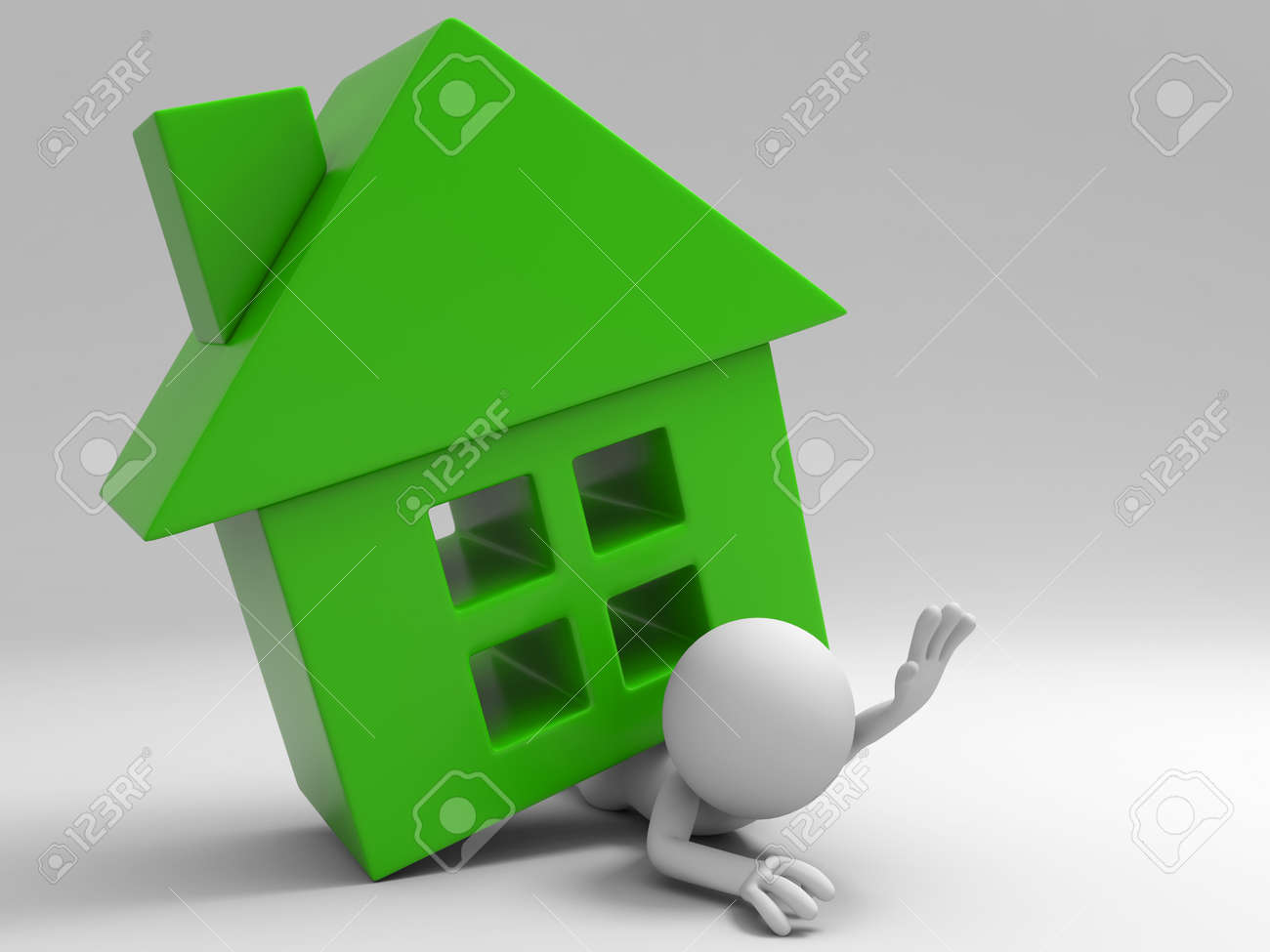 A 3d people was pinned by house Stock Photo - 15406106