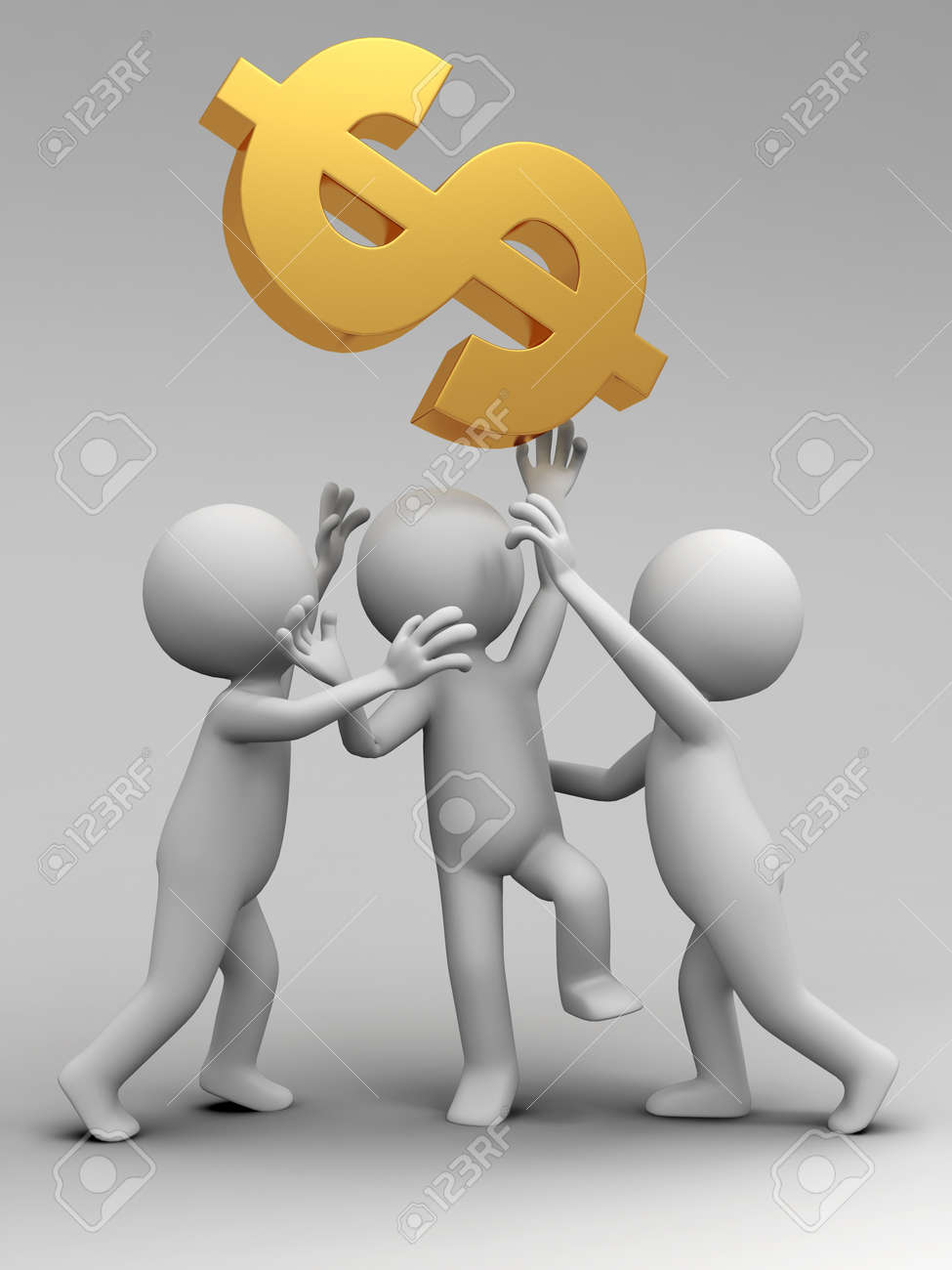 Three people are fighting for dollars Stock Photo - 15390058