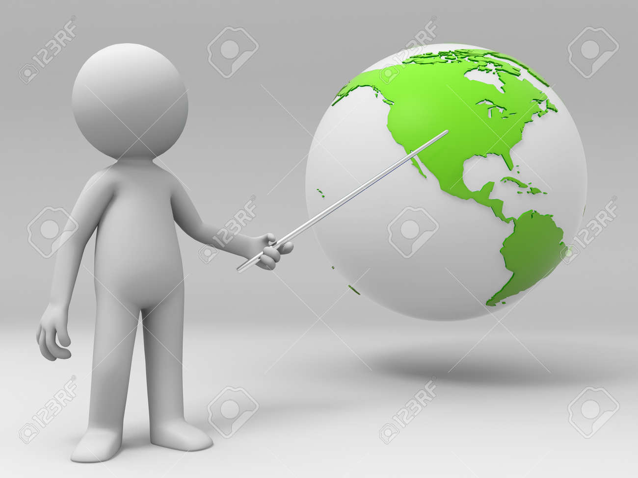 A man is explaining the earth Stock Photo - 15369184