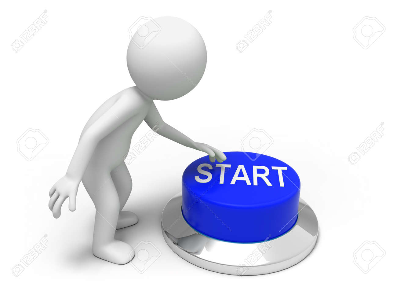Start button  A man is pushing the button Stock Photo - 15453944