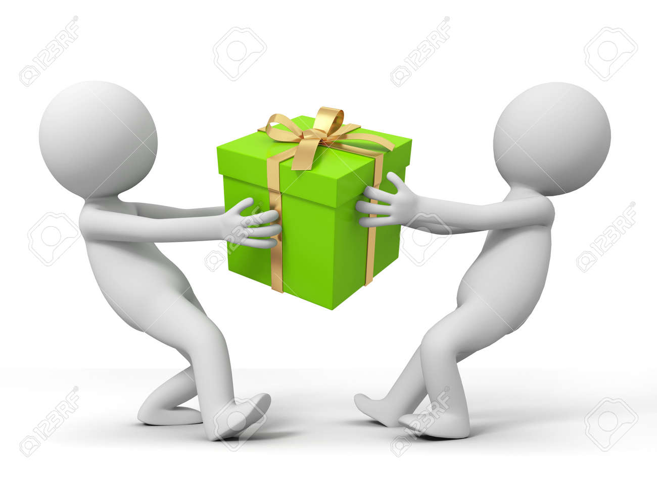 gift  Two people are fighting for a gift Stock Photo - 15453895