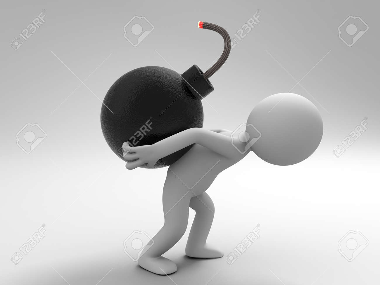 Bomb Crisis a people is carrying a bomb with difficulty Stock Photo - 15448323