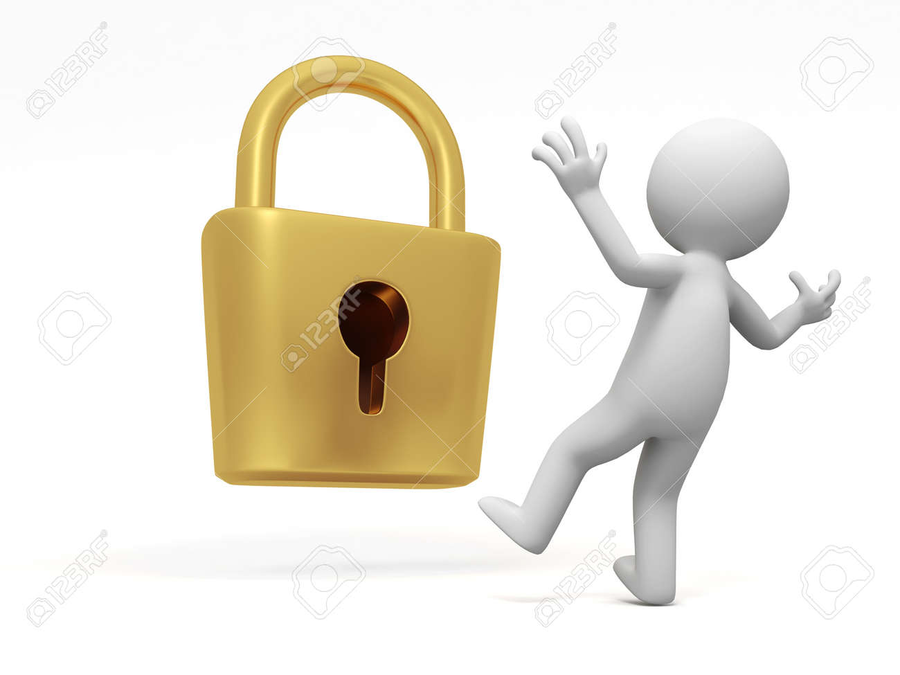 lock  a people is standing in front of a lock thinking Stock Photo - 15431778