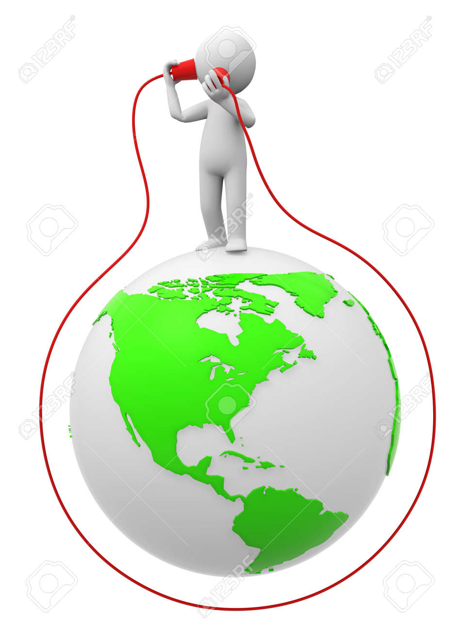 Phone communication A people in listening to call on the earth Stock Photo - 15431597