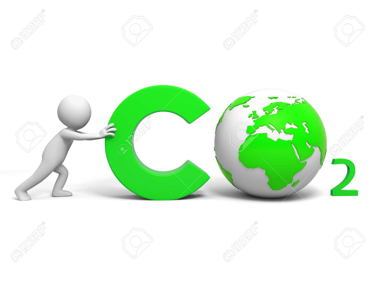 co2 記号を押すことで co2 環境保護 a の人々 ロイヤリティーフリー