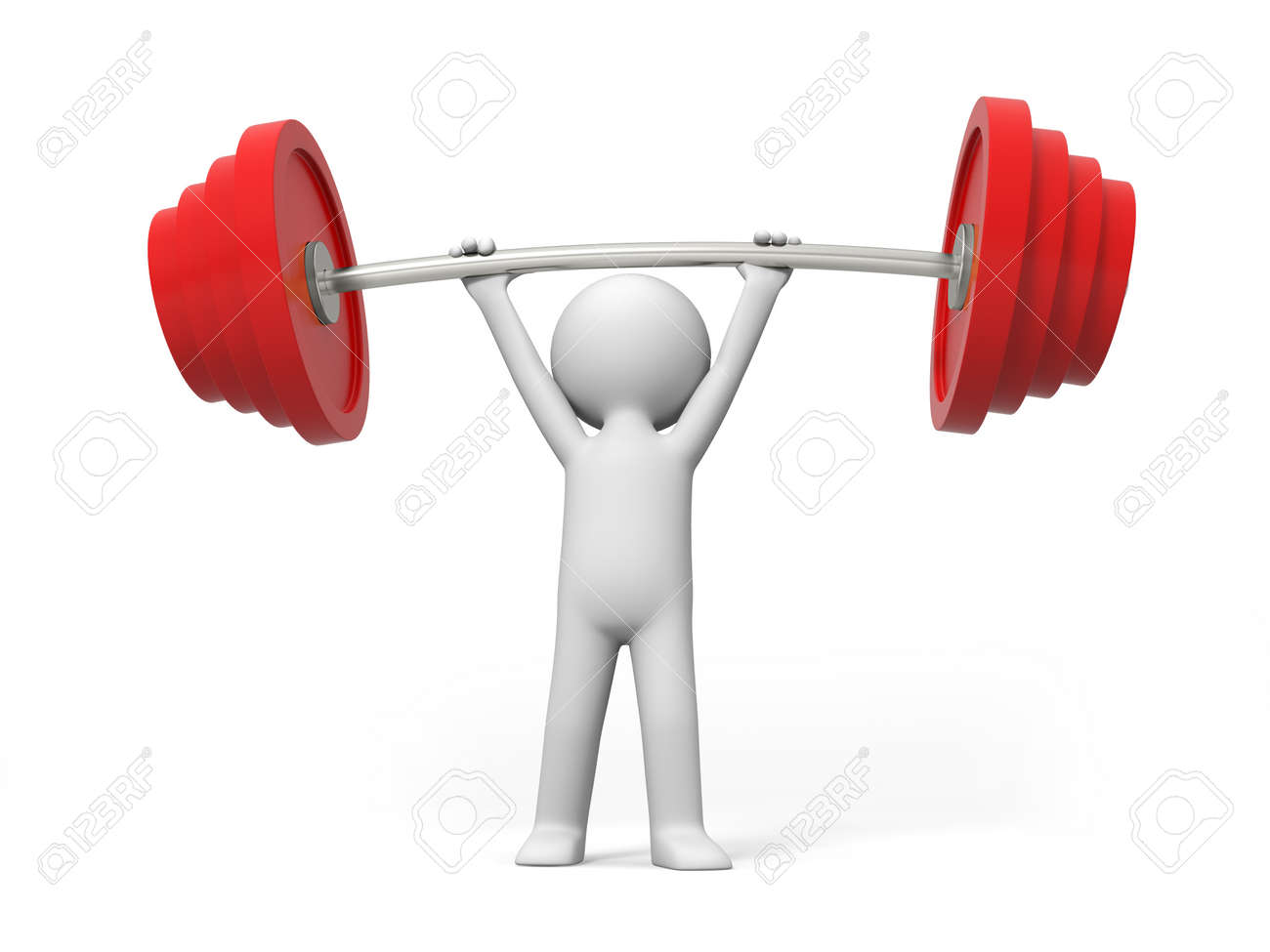 Weightlifting win A people lift the weight Stock Photo - 15429980