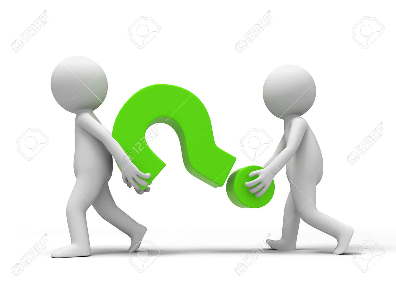 Question mark  Two people carried a Question mark Stock Photo - 15429575