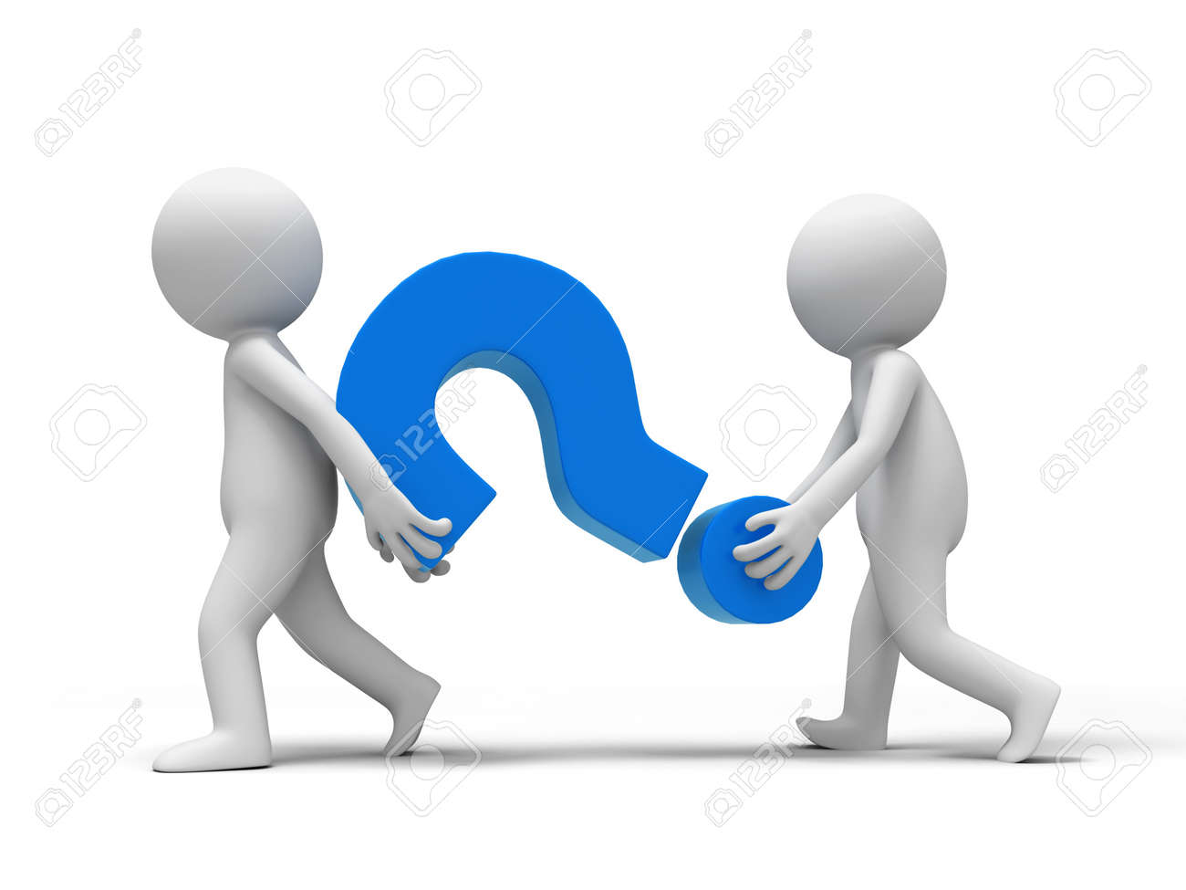 Question mark  Two people carried a Question mark Stock Photo - 15429574