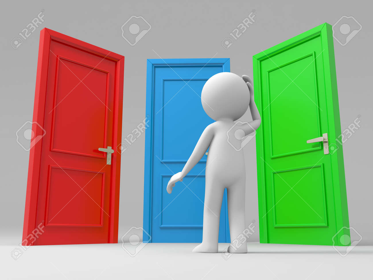 Attractive Door Choose A Person Thinking In Front Of Three Doors Stock Photo   15458270