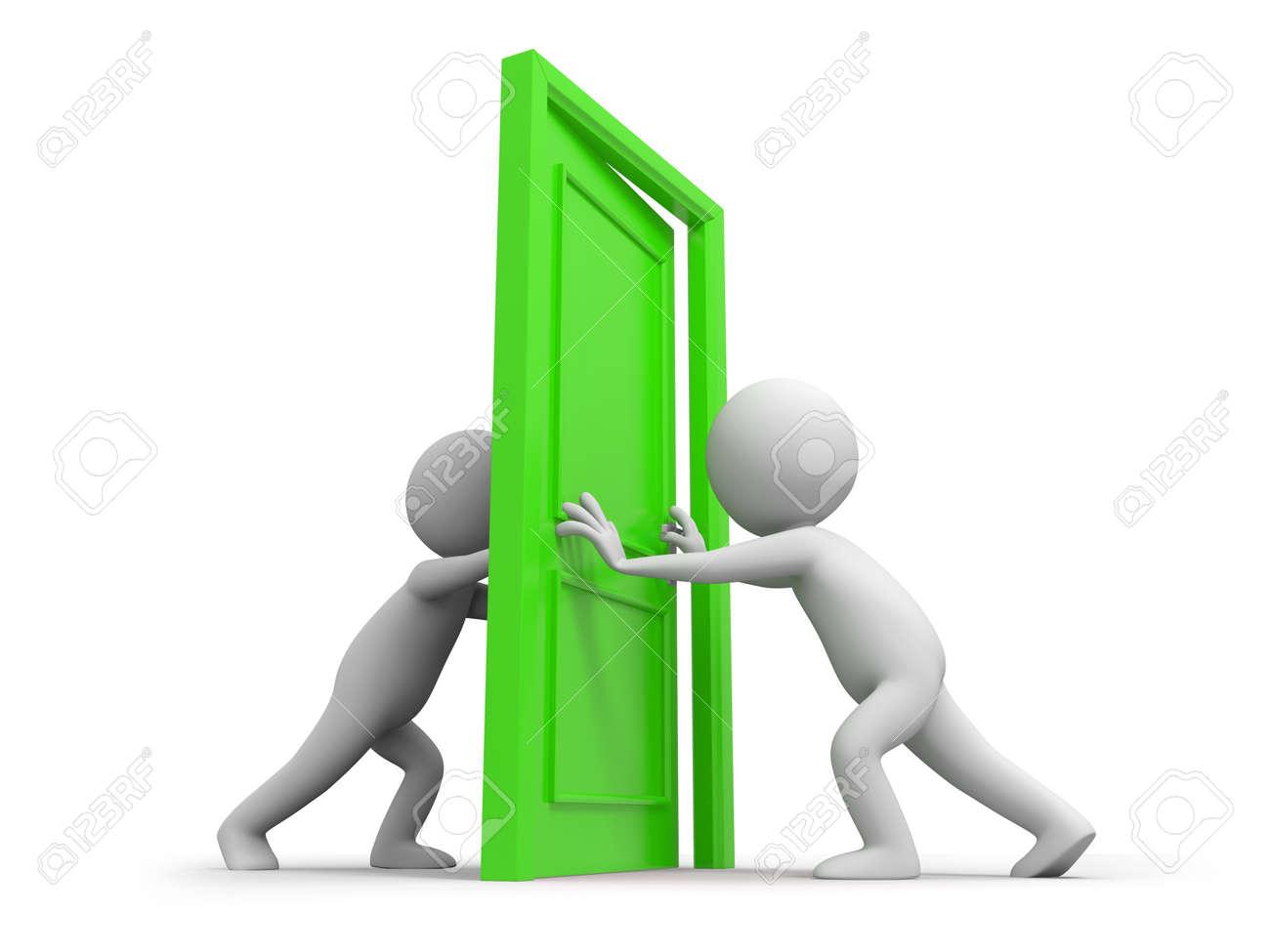 nosleep4 ❀ ohno hinata - Page 2 15457225-Deux-personnes-porte-pousse-une-porte-Banque-d'images