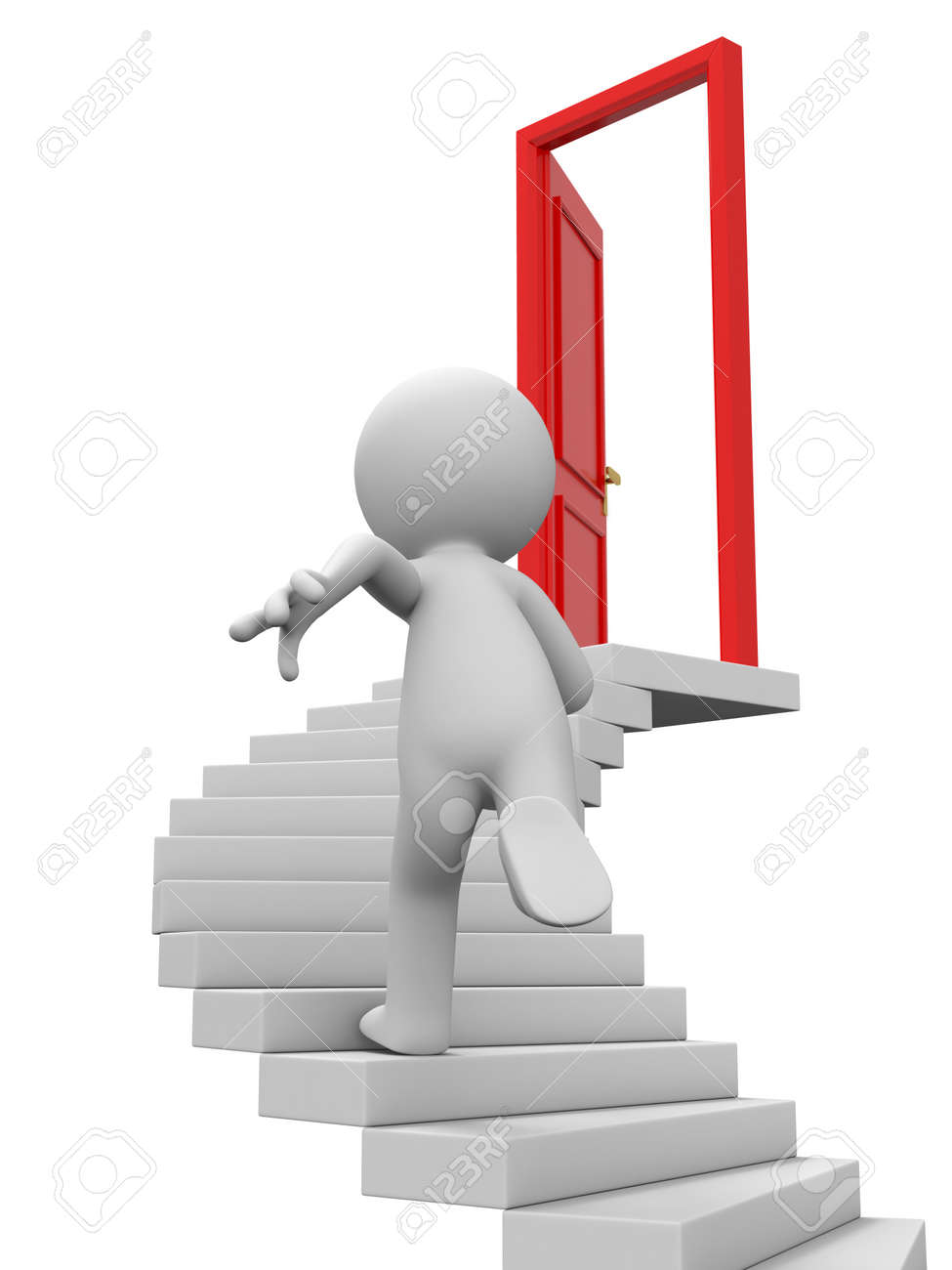 Door run stairs A person runs to a opened door on the stairs Stock Photo - 15457686