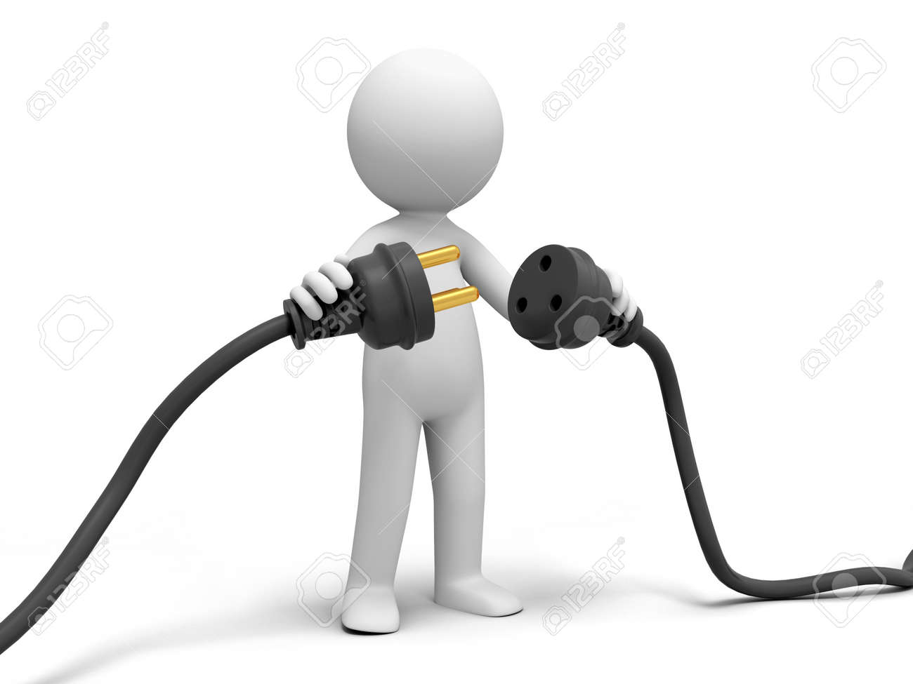 Plug powder cord a person connecting plugs Stock Photo - 15457361