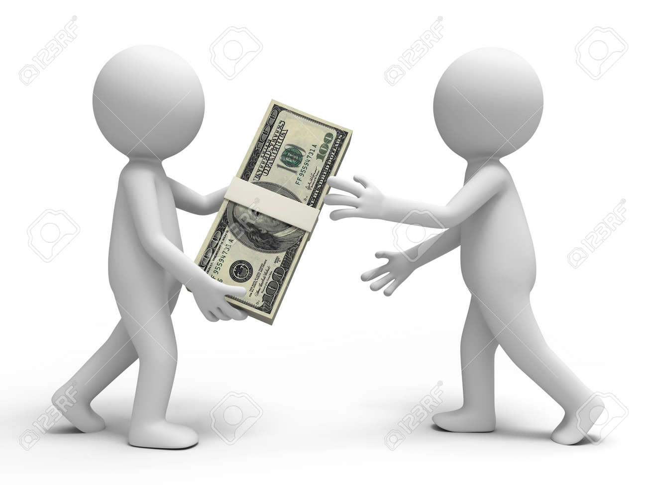 Dollar a person giving a bundle of dollars to another one Stock Photo - 15458150