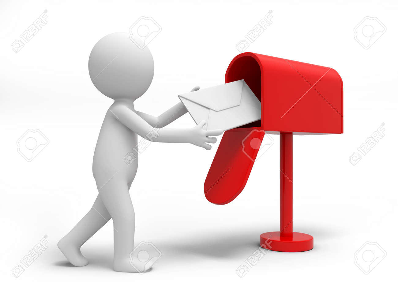 A 3d person sending a letter to the mail box Stock Photo - 18629863