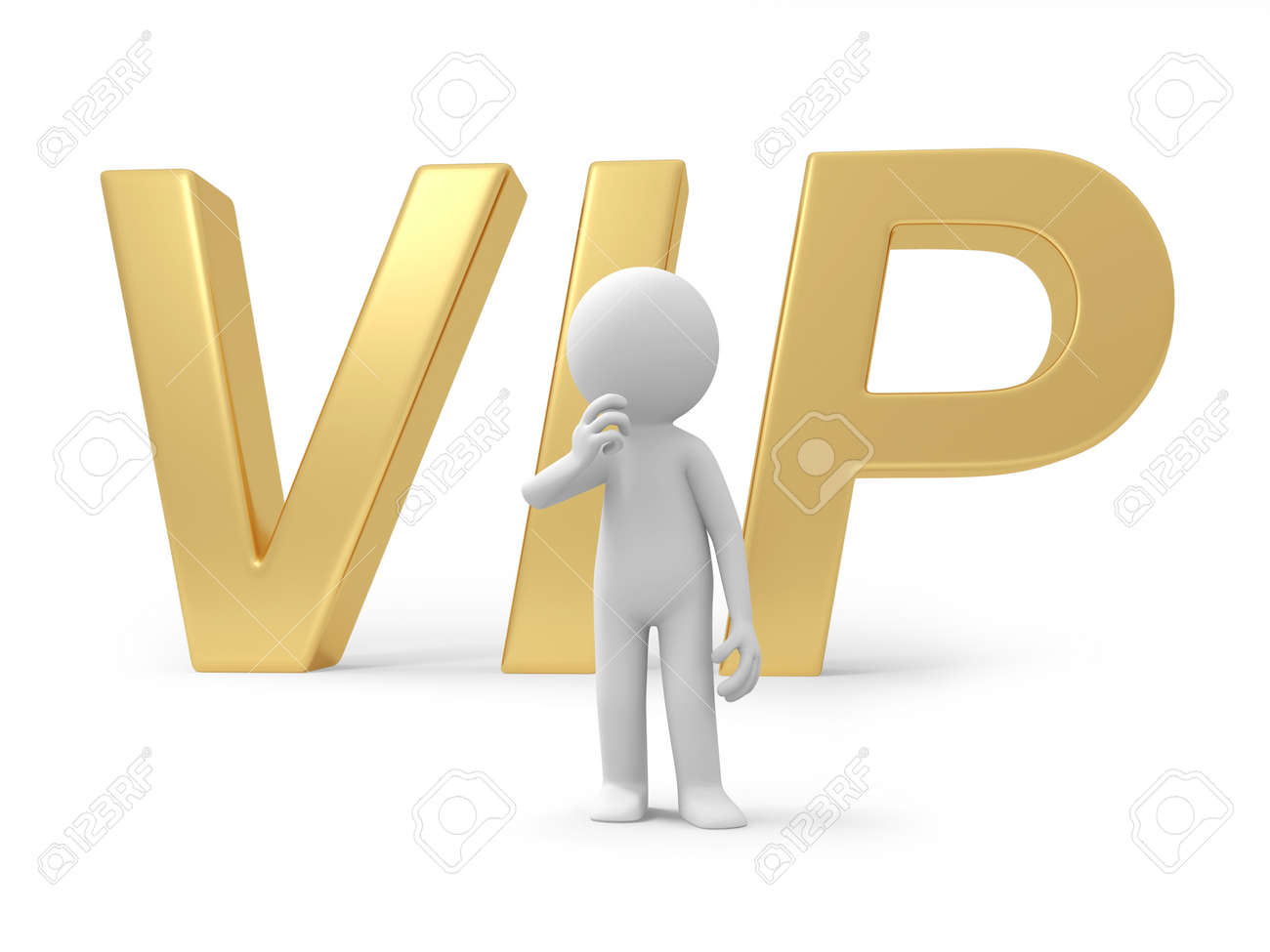 A 3d person thinking back to the VIP symbol Stock Photo - 18616844