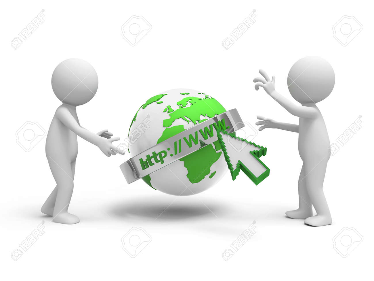 Two 3d people discussing, the internet model background Stock Photo - 18909964