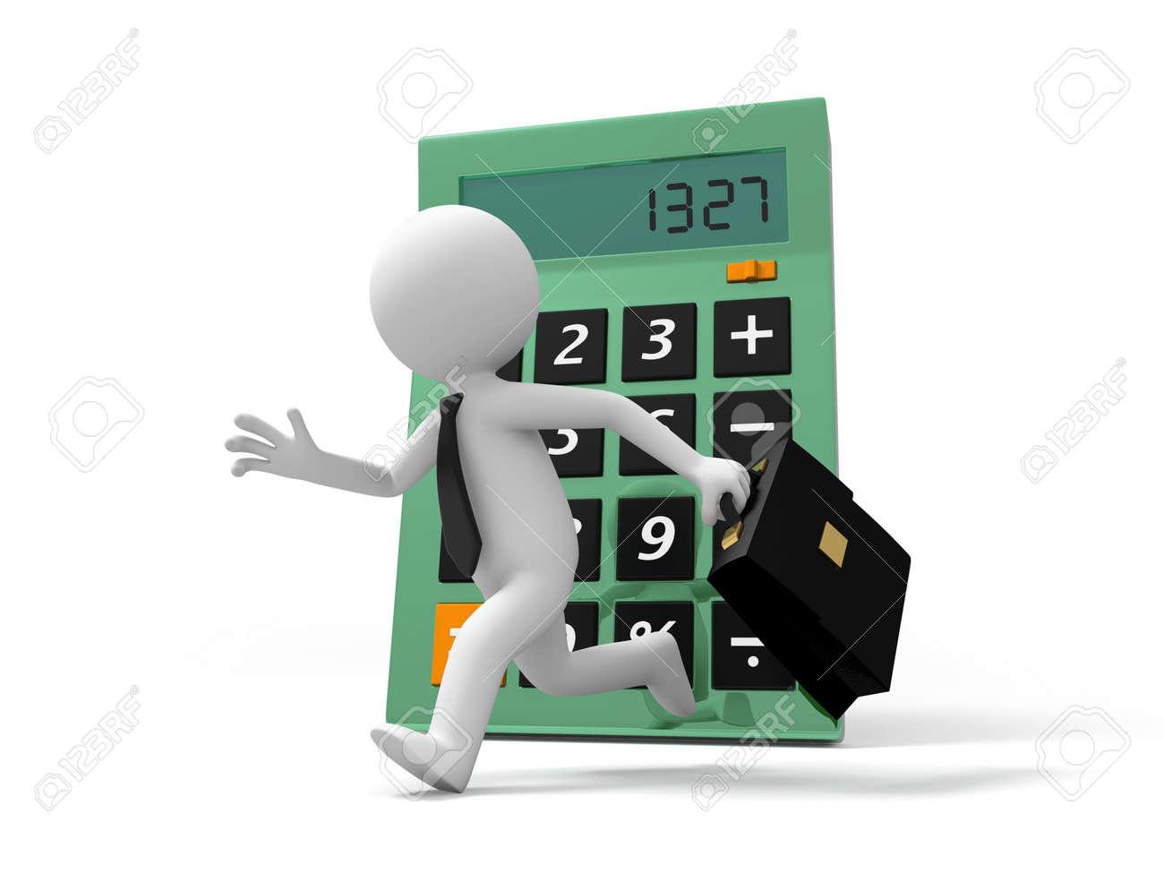 A 3d businessman running back to a calculator Stock Photo - 19017183