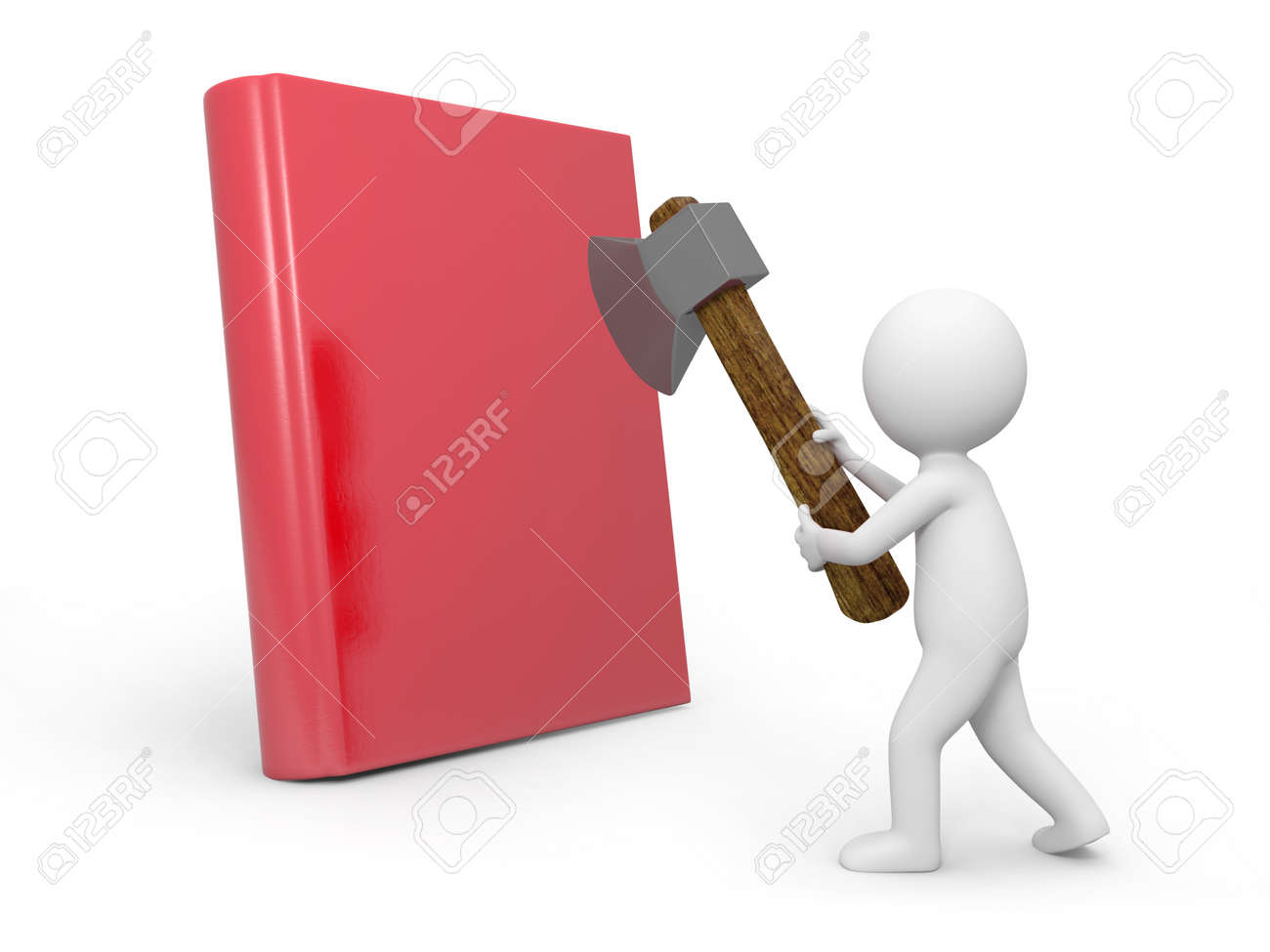 A 3d man cutting a book with an axe Stock Photo - 19160630