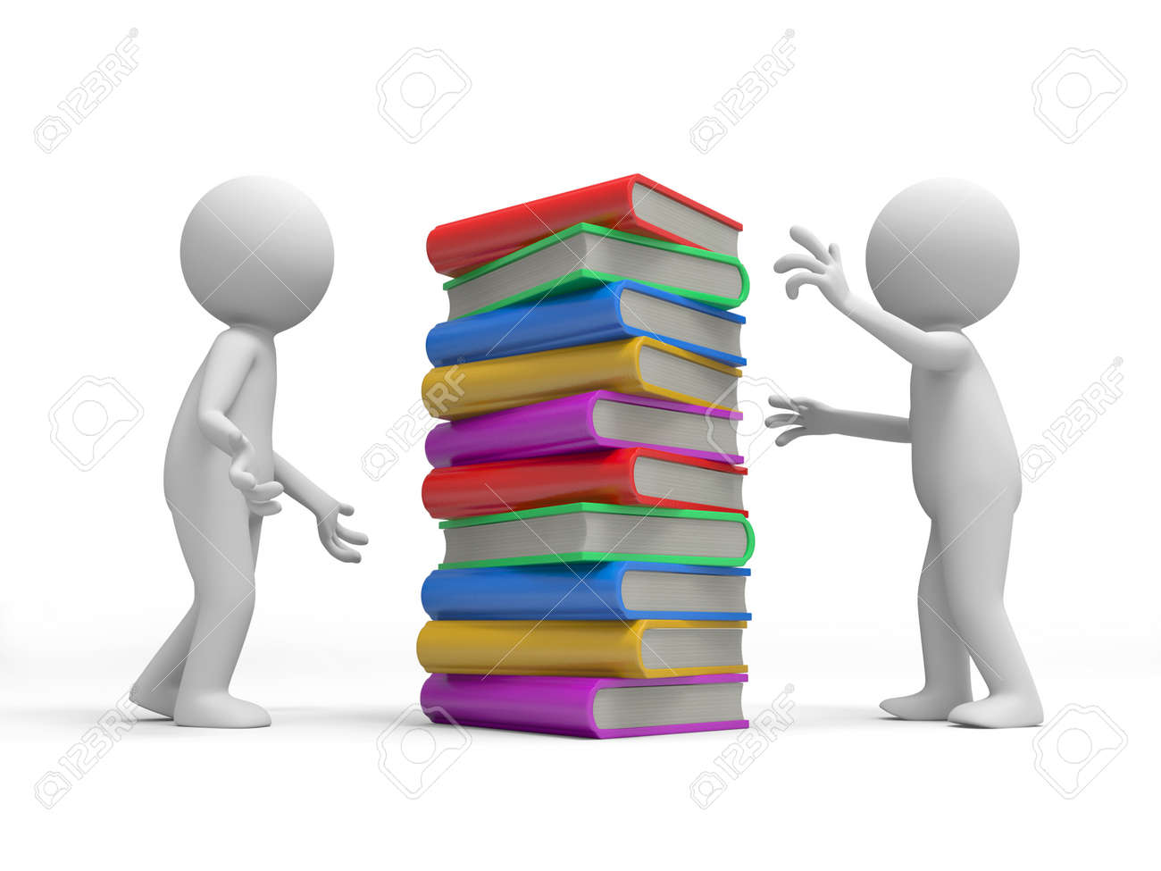 Two 3d persons discussing, a stack of books between them Stock Photo - 19160398