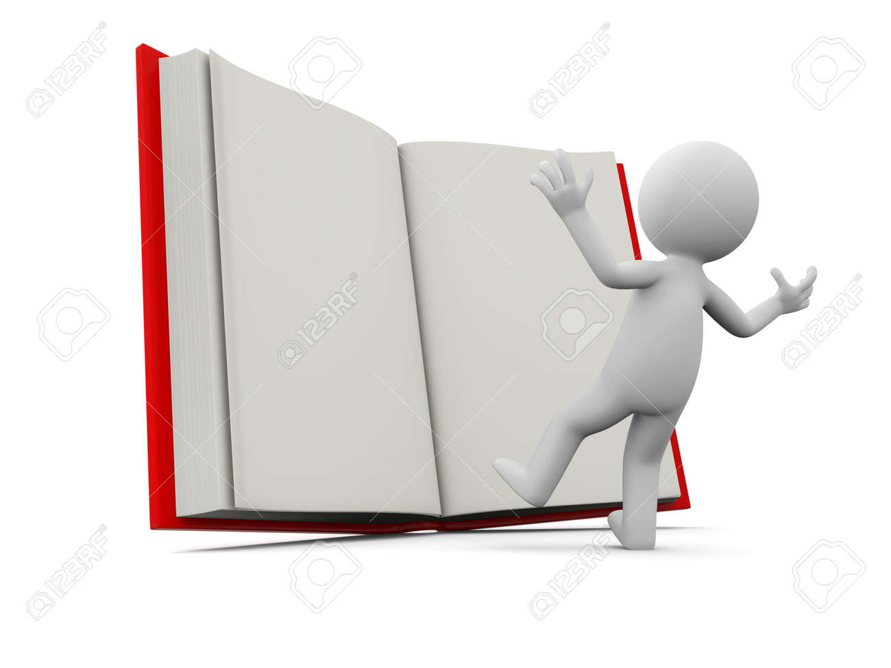 A 3d person surprised by an opened book Stock Photo - 19228733