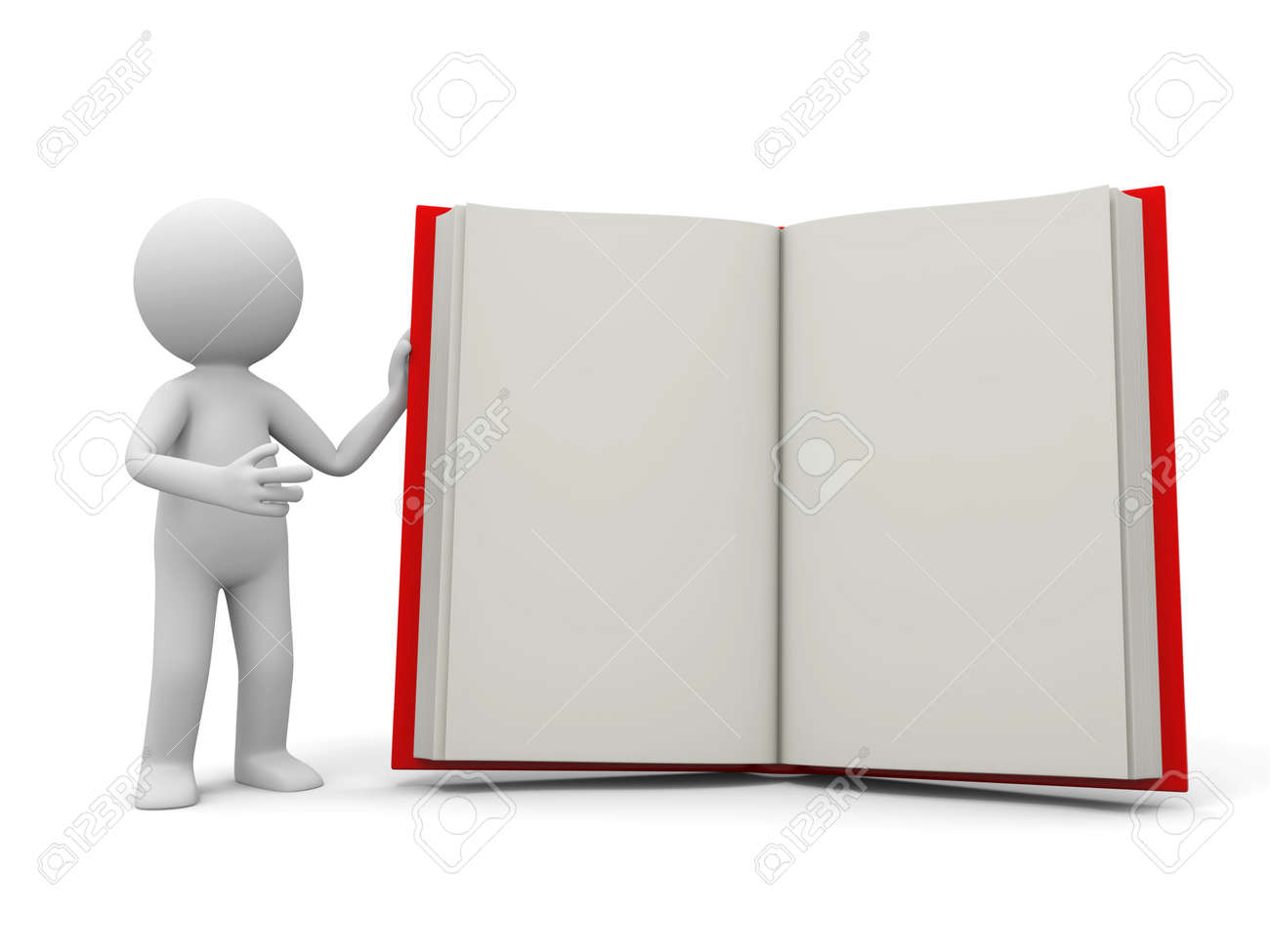 A 3d person introducing the book to the people Stock Photo - 19228729