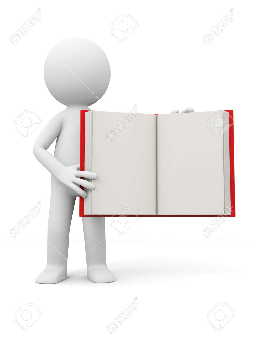 A 3d person showing an opened book to the people Stock Photo - 19228653